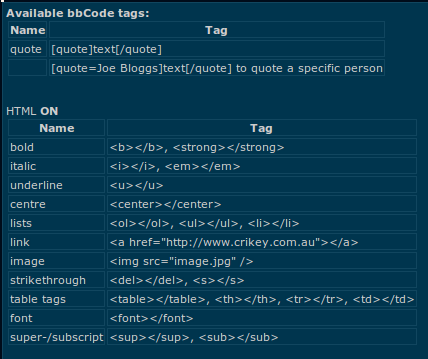 the list of HTML and BB codes available for use.